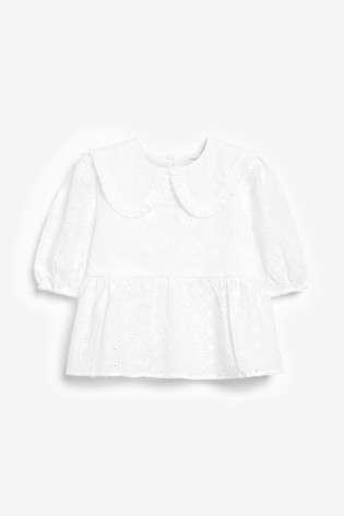 White Cotton Broderie Collar Blouse (3-16yrs)