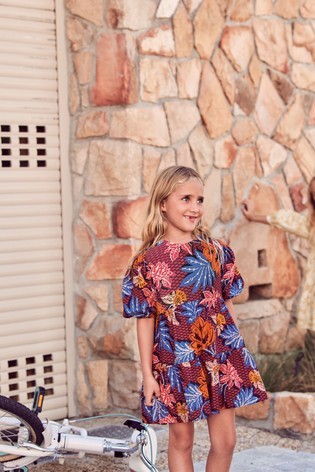 Bold Floral Tiered Dress (3-16yrs)