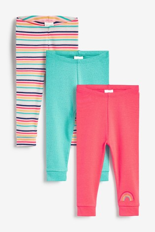 Bright Pink 3 Pack Ribbed Leggings (0mths-3yrs)