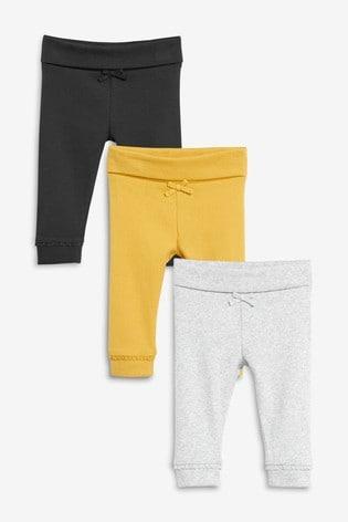 Grey/Ochre 3 Pack Ribbed Leggings (0mths-3yrs)