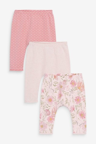 Pink Spot/Floral 3 Pack Ribbed Leggings (0mths-3yrs)