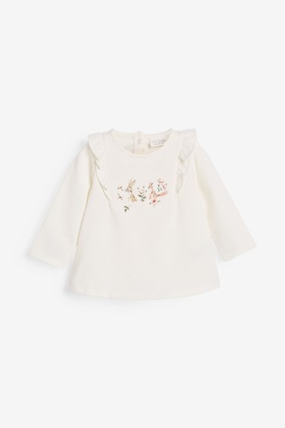 Ecru/Pink 3 Pack Bunny And Floral T-Shirts (0mths-3yrs)