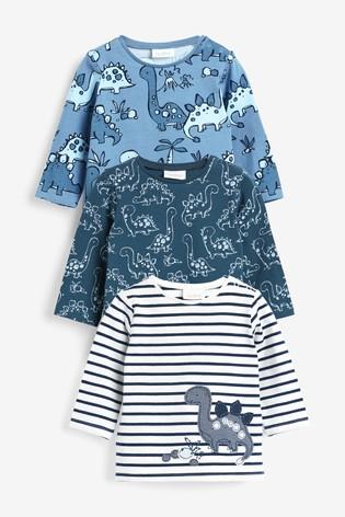 Blue 3 Pack Long Sleeve T-Shirts (0mths-3yrs)