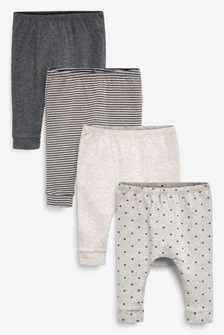 Charcoal Grey 4 Pack Star Stretch Leggings (0mths-3yrs)