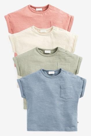 Multi Neutral 4 Pack T-Shirts (0mths-2yrs)