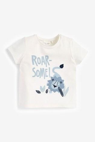 Blue 3 Pack Organic Cotton Lion T-Shirts (0mths-3yrs)