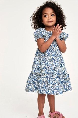 Blue Floral Shirred Maxi Dress (3mths-7yrs)