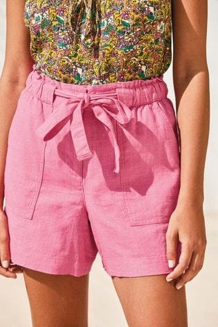 Pink Linen Blend Tie Waist Shorts
