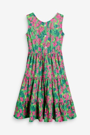 Tropical Printed Texture Tiered Maxi Dress (3-16yrs)