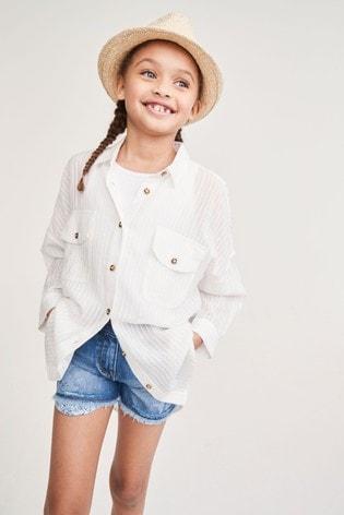 White Cotton Oversized Shirt (3-16yrs)