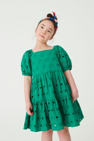 Green Cotton Tiered Broderie Dress (3-16yrs)