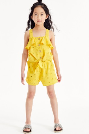 Yellow Broderie Shorts Cotton Co-Ord (3-16yrs)