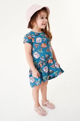 Teal Shapes Cotton Jersey Dress (3mths-7yrs)