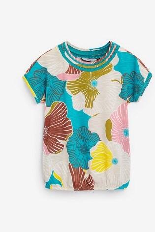 Blue Floral Print Bubblehem T-Shirt