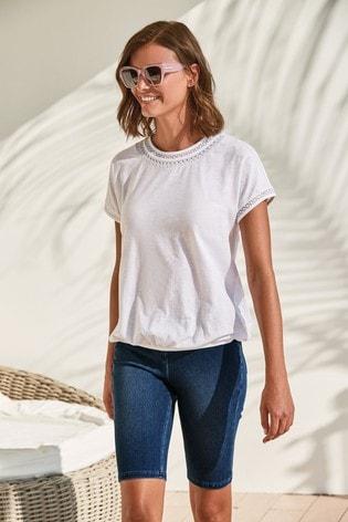 White Bubble Hem T-Shirt