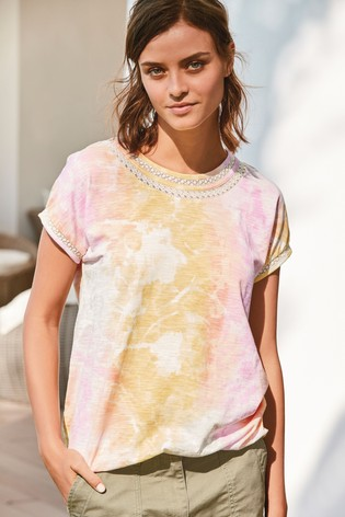 Pink Tie Dye Print Bubble Hem T-Shirt
