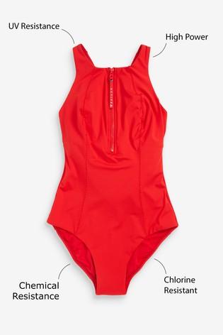 Red Performance Zip Swimsuit