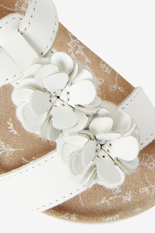 White Leather Standard Fit (F) Flower Sandals (Younger)