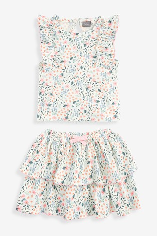 Ecru Floral Vest And Skirt Co-ord Set (3mths-7yrs)