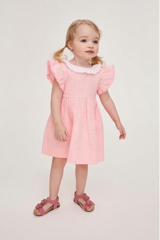 Coral Lace Collar Stripe Dress (3mths-7yrs)
