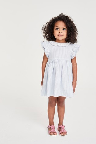 Pale Blue Lace Collar Stripe Dress (3mths-7yrs)