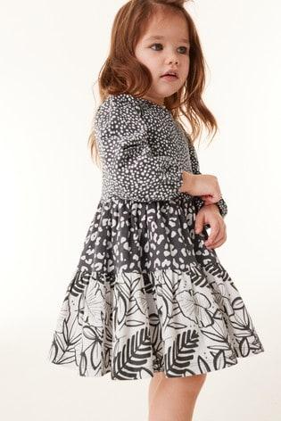 Charcoal Organic Cotton Mixed Print Tier Dress (3mths-7yrs)