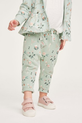 Green Floral Joggers Soft Touch Jersey (3mths-7yrs)