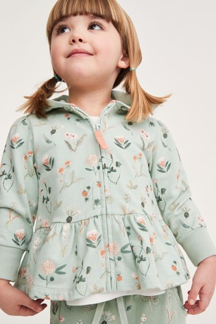 Green Floral Hoody Soft Touch Jersey (3mths-7yrs)
