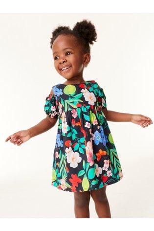 Multi Organic Cotton Printed Cold Shoulder Dress (3mths-7yrs)