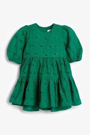 Green Cotton Tiered Broderie Dress (3mths-7yrs)