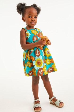 Teal Printed Organic Cotton Dress (3mths-7yrs)