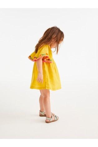 Ochre Organic Cotton Embroidered Kaftan Dress (3mths-7yrs)