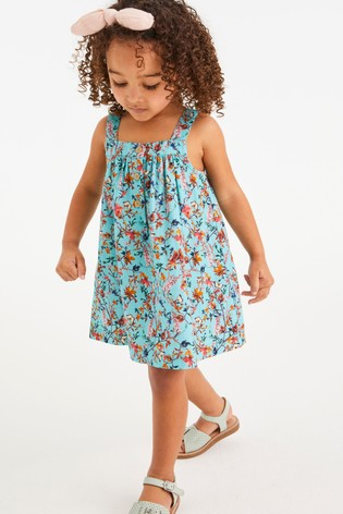 Turquoise Floral Printed Organic Cotton Sundress (3mths-7yrs)
