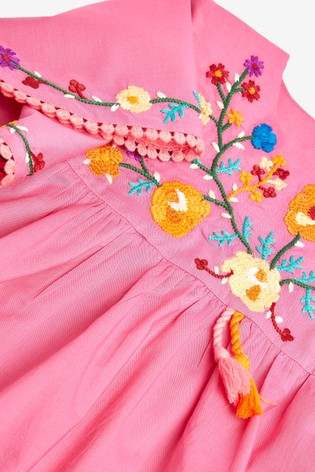 Fuchsia Organic Cotton Embroidered Kaftan Dress (3mths-7yrs)