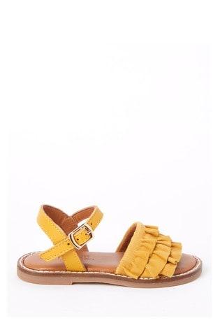 Ochre Leather Ruffle Sandals