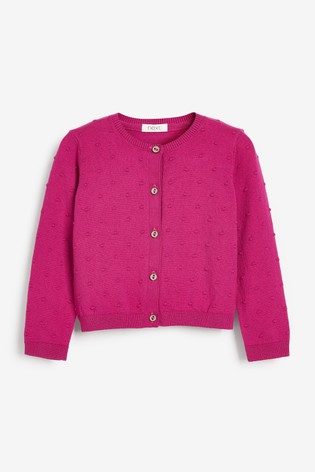 Bright Pink Bobble Cardigan (3mths-10yrs)