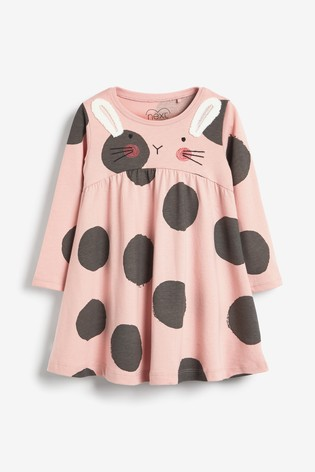 Pink Bunny Jersey Dress (3mths-7yrs)
