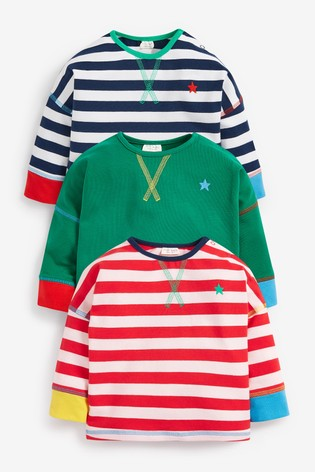 Bright 3 Pack Organic Cotton Stripe T-Shirts (0mths-2yrs)