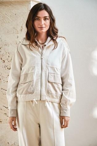 Ecru Cropped Cotton Bomber Jacket