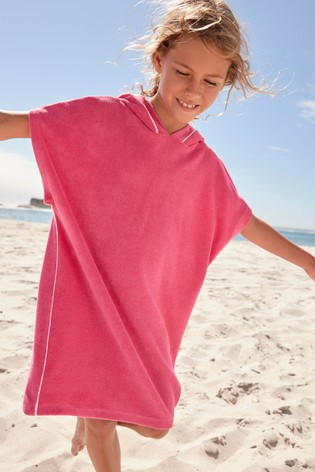 Pink Hooded Towelling Poncho
