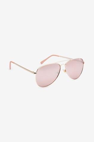 Rose Gold Aviator Style Sunglasses