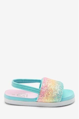 Rainbow Glitter Pool Sliders