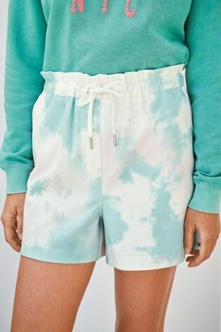 Aqua Tie Dye Jersey Denim Run Shorts