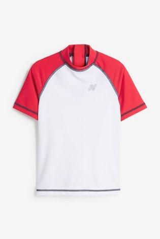 Red And White Short Sleeve Sunsafe Rash Vest (1.5-16yrs)