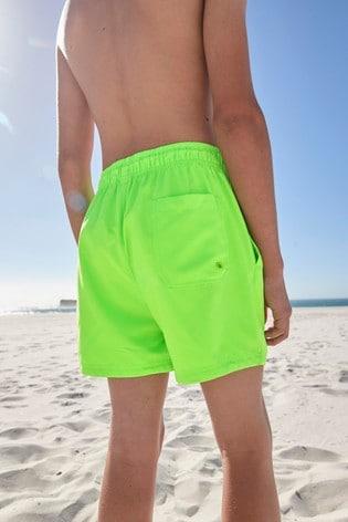 Fluro Green Regular Length Swim Shorts (1.5-16yrs)