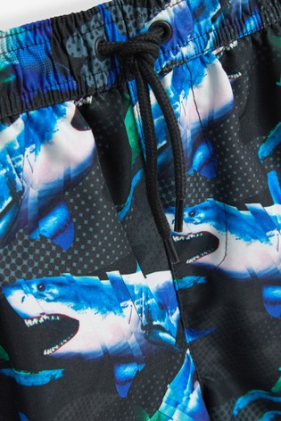 Black Photo Shark Swim Shorts (3-16yrs)