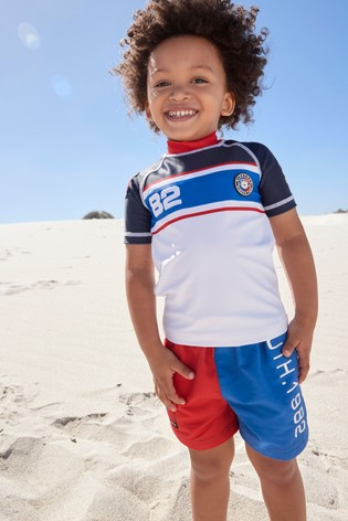 Red/Blue Colourblock Rash Vest And Shorts Set (3mths-7yrs)