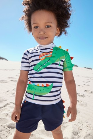 Stripy Crocodile Rash Vest And Shorts Set (3mths-7yrs)