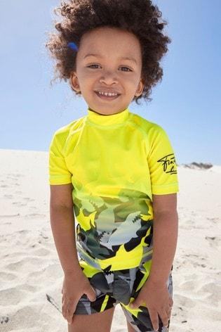 Yellow and Camo Rash Vest And Shorts Set (3mths-7yrs)