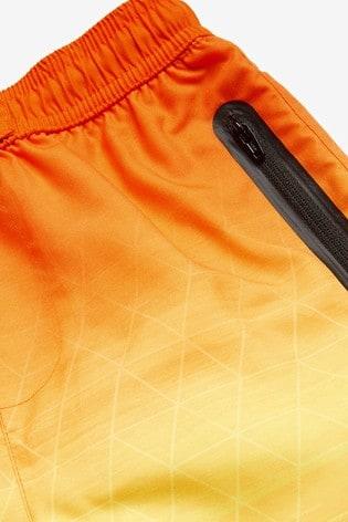 Orange Geo Swim Board Shorts (3-16yrs)